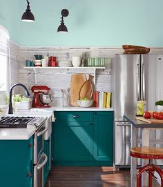 Turq cabinets with white countertops