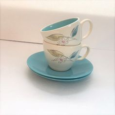 Retro Aqua and White Cup and Saucer 1960's by TazamarazVintage