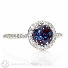 Platinum Alexandrite Ring Diamond Halo Setting by RareEarth