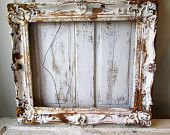 Large wooden picture frame distressed white w/ gold gilding French farmhouse vintage wood gesso wall hanging home decor anita spero design