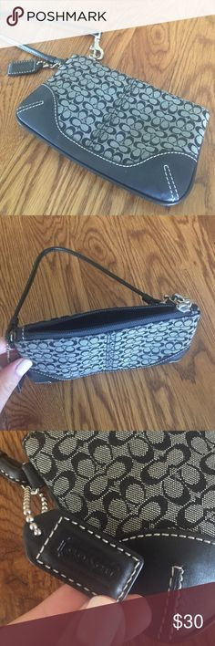 AUTHENTIC Coach wristlet Black and grey coach wristlet in great condition! Coach Bags Clutches & Wristlets