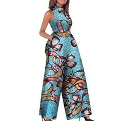 African Print Women Jumpsuit O-Neck Sleeveless Sexy Romper Wide Leg – Afrinspiration African Fashion Designers, Latest African Fashion Dresses, African Print Fashion, Africa Fashion, African Attire, African Wear, African Women, African Dress, African Outfits