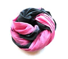 Black and Pink Cotton Scarf