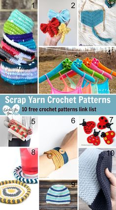 crochet bow pattern Use your leftover yarns to make these 10 free patterns. Scrap Yarn Crochet, Crochet Bows, Crochet Round, Crochet Gifts, Crochet Stitches, Free Crochet, Knit Crochet, Crochet Bow Pattern, Easy Crochet Patterns