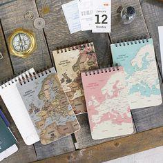 Indigo World map pattern wirebound lined notepad - fallindesign