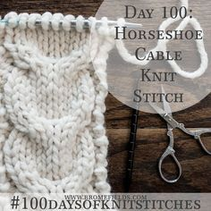 How to Knit Day 100 Horseshoe Cable Knit Stitch +PDF +VIDEO