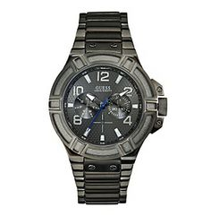 Guess Men's Gunmetal Ion Plated Stainless Steel Bracelet Watch