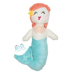 Emily the Mermaid - Handmade Mermaid Doll by BitsyMermaid - This is Emily. She loves to read and gets most of her books from recently sunken ships (before the books disintegrate of course). She is quiet and loves the simple things in life.