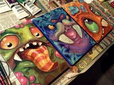 MiniMonster paintings (6x9) by kookyspooks on DeviantArt - inspiration for monster ATCs?