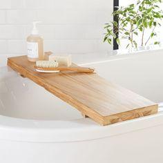 Live Edge Wood Bath Caddy by Bathroom Spa, Bathroom Storage, Modern Bathroom, Bathroom Shelves, Bathroom Ideas, Master Bathroom, Natural Bathroom, Bathroom Designs, Shower Ideas