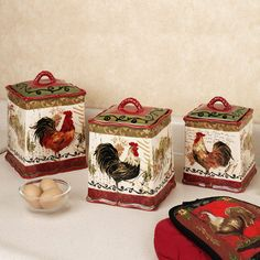 Rooster Kitchen Decor Set Home Tuscan Rooster Canister Set Multi Warm Set Of Three