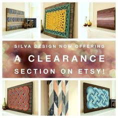 Welcome! Check out the CLEARANCE section at Silva Design. Prices have been marked down!!