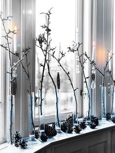 Clear vase christmas display.