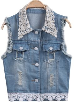 Blue Sleeveless Lace Ripped Denim Vest 21.67