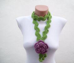 Hand crochet Lariat Scarf Green Lilac Purple Flower by nurlu, $20.00