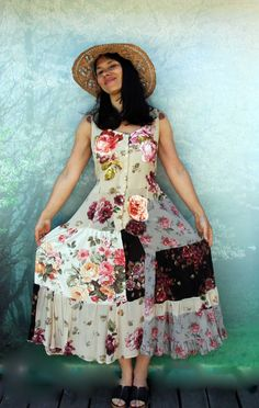 M-L Romantic appliqued roses recycled patchwork dress boho