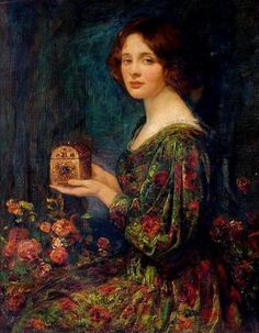 The Jewelled Casket - Thomas Edwin Mostyn. Oil on canvas, x cm Collection: Laing Art Gallery gift from George E. Henderson, on loan to Lumley Castle, Chester-le-Street, County Durham Art And Illustration, Art History Timeline, History Memes, Blog Art, Victorian Art, Classical Art, Art Uk, Gustav Klimt, Fine Art