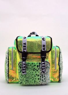 Big Green Holographic Fur Backpack