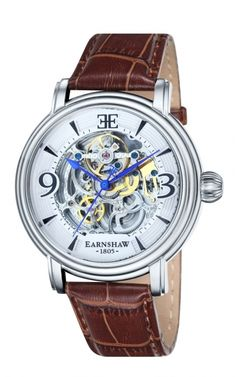 dccdb8338c1 Thomas Earnshaw Men s Longcase Analog Display Automatic Self Wind Brown  Watch