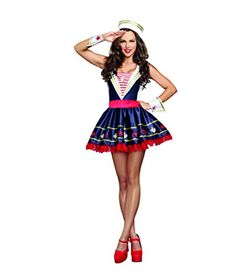 Dreamgirl Women's Shore Thing Sailor Costume: This adorable sailor always makes a splash. Navy satin dress with sequin appliques along the hemline and an attached red petticoat. Includes sailor hat and cuffs. (Earrings not included) piece Set) Sailor Costumes, Girl Costumes, Costumes For Women, Cosplay Costumes, Costume Ideas, Dance Costumes, Sexy Halloween Costumes, Spirit Halloween, Halloween Shoes