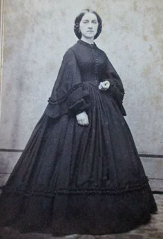 CDV Photo Somber Victorian Lady Civil War Era Woman Black Mourning Dress | eBay