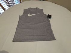 Nike DRI FIT Boy's Youth sleeveless active grey performance NEW shirt XL 413317 #Nike