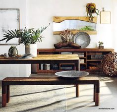 Roost Recycled Mahogany Bench - Clean, modern lines pair with aged wood to create this rustic yet refined collection of substantial pieces. Made from distressed planks of solid mahogany, the console has four fixed shelves and the table and bench are framed in artfully pitted recycled iron.