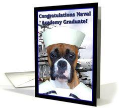 Congratulations Naval academy graduate Boxer Dog card