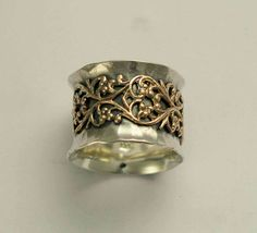 Gold lace band - Wide sterling silver oxidized band with yellow gold lace filigree design - Misty.