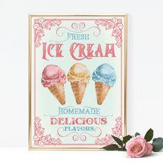 Vintage Typography Ice Cream Sign, Retro Ice Cream Bar Parlor, Wedding, Party
