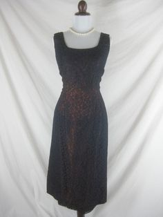 50s 60s Blue Lace Womens Vintage Cocktail Wiggle by marie92001