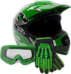 Youth Offroad Gear Combo Helmet Gloves Goggles DOT Motocross ATV Dirt Bike MX Motorcycle Green (Medium) -      $  59.95 Motorcycle & ATV Product Features  This is a smaller shell youth helmet weighs 3 lbs, not an over padded adult helmet Please measure for size. Each manufacturers sizing is different. SIZE CHART (Circumference of the largest part of the child's head, usually just above...