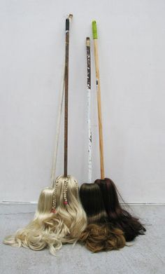 Vincent Olinet  After the waves/The Waifs/Irina, Svetlana, Tatiana and Anastasia/2011/variable size/broom sticks, artificial and natural hairs.