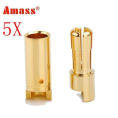 5 X Amass 5.5mm Gold-plated Copper Banana Plug AM-1005 Male & Female