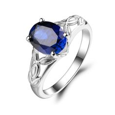 e10338a1105a Aliexpress.com  Comprar Leige Lab Joyería Anillo de Zafiro Azul Oval Cut  Anillo de