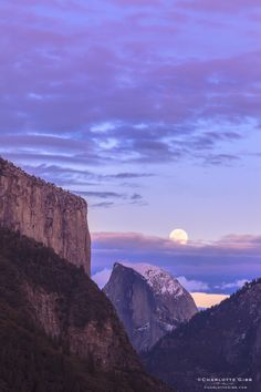 Moonrise Half Dome at Sunset, Yosemite National Park, California