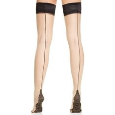 Pretty Polly Back Seam Detail Thigh High Tights ($30) ❤ liked on Polyvore featuring intimates, hosiery, tights, sheer tights, patterned tights, black thigh high tights, black stockings and lace thigh high stockings