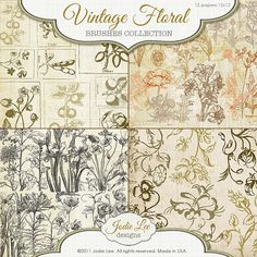 35 vintage floral brushes for use in all your digital creations! Personal and commercial use OK.