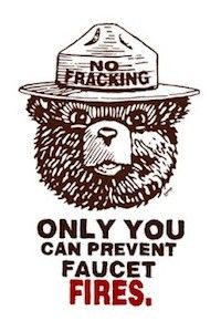A political cartoon against fracking, using Smokey Bear to talk about faucet fires. This is a logos appeal.