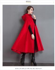 2017秋冬装新款民族风女装不加棉披风大红色斗篷毛呢外套毛呢大衣-淘宝网