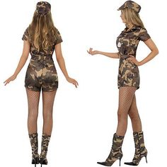 Ladies Army Girl Fancy Dress Costume Military Soldier Uniform Camo Outfit + Hat Camo Outfits, Outfits With Hats, Army Girl Fancy Dress, Military Soldier, Stockings, Costumes, Best Deals, Lady, Cute