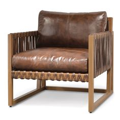 Plantation hardwood frame with chestnut cowhide leather on seat and back. Leather strap accents. Available only as shown.