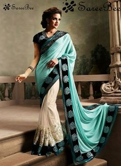 Grab the second look in this elegant attire for this season. Pamper the women in you with thisBlue and cream embroidered chiffon Bollywood saree. Beautified with patch border and Embriodered wor...