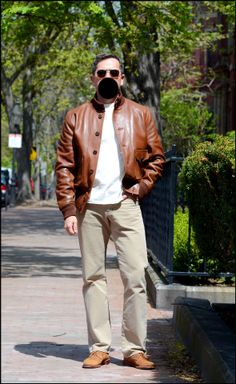 Sunny (But Deceptively Cool) Boston Casual Spring Thursday. Chapal A1 blouson, Studio D'Artisan loop-wheeled tee, Naked & Famous selvedge jeans, Alden snuff suede unlined bluchers, and Randolphs.