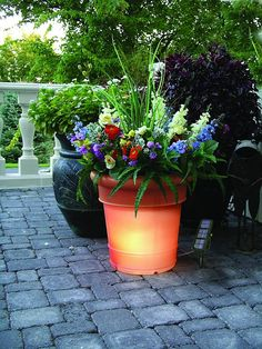 GardenGlo Solar Lighted PlantersWOW they come in 5 colors and solar powered....