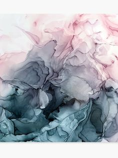 Blush And Payne's Gray Flowing Abstract Canvas Print / Canvas Art by Elizabeth Karlson - Malerei Alcohol Ink Painting, Alcohol Ink Art, Painting Prints, Art Prints, Art Paintings, Painting Art, Painting Metal, Painting Shower, Abstract Paintings