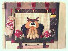 Kit cucito creativo - Gufi e civette : Kit pannello copriforno con gufo e funghi