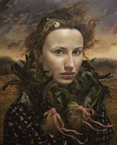 "Amazing portrait by Andrea Kowch, ""In Silence Known"" 2014. 30"" x 24"" acrylic on canvas"
