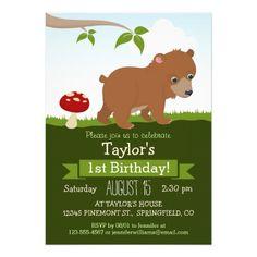 Woodland Baby Bear Kid's Birthday Party Card