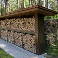 Best Indoor Garden Ideas for 2020 - Modern Outdoor Firewood Rack, Firewood Shed, Firewood Storage, Outdoor Storage, Outdoor Wood Burning Fireplace, Wood Storage Sheds, Wood Store, Building A Shed, Garden Structures